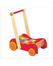 Lelin Toys - duw- loopwagen met gekleurde blokken - 30 stuks