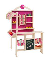 Howa Houten speelwinkel Mia met zijluifeltje roze/meerkleurig 4748
