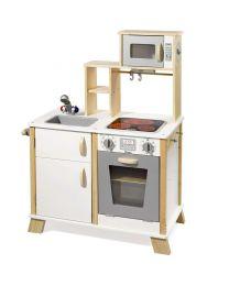 Howa Speelkeuken hout met LED kookplaat natuur / wit 4820