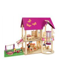 Howa houten poppenhuis 70041 incl. 22 meubels en 4 flexibele poppen
