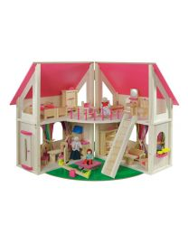 Howa houten poppenhuis opvouwbaar incl. meubels en poppen 7013