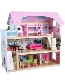 Houten poppenhuis met accessoires 0550008