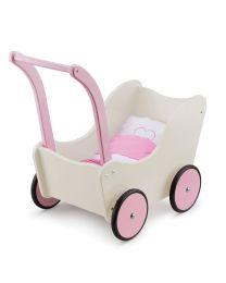 new classic toys poppenwagen met beddengoed creme 10752
