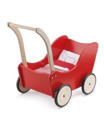new classic toys poppenwagen met beddengoed rood 10750