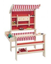 Houten speelwinkel naturel met rood/witte luifel