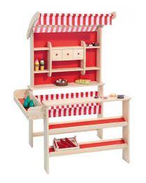 Howa Houten speelwinkel Robin naturel met rood/witte luifel 47463