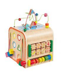 Howa houten motoriek activiteiten kubus Little World groot 6001