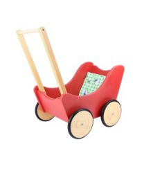 Small Foot poppenwagen rood met matrasje 6925